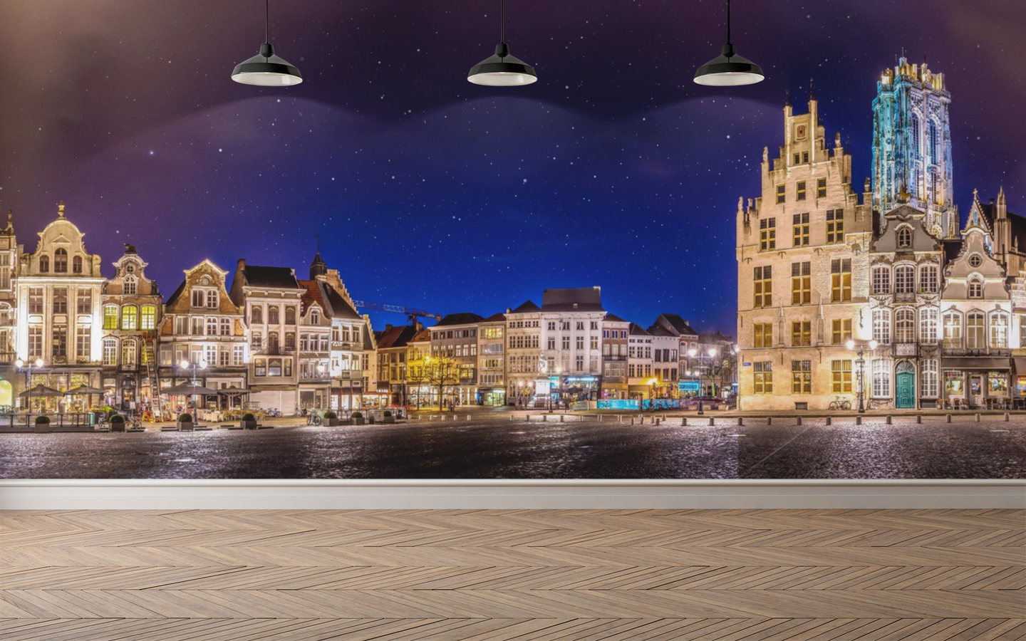 Old City at Night Panoramic - 01160 - Wall Murals Printing - wall art