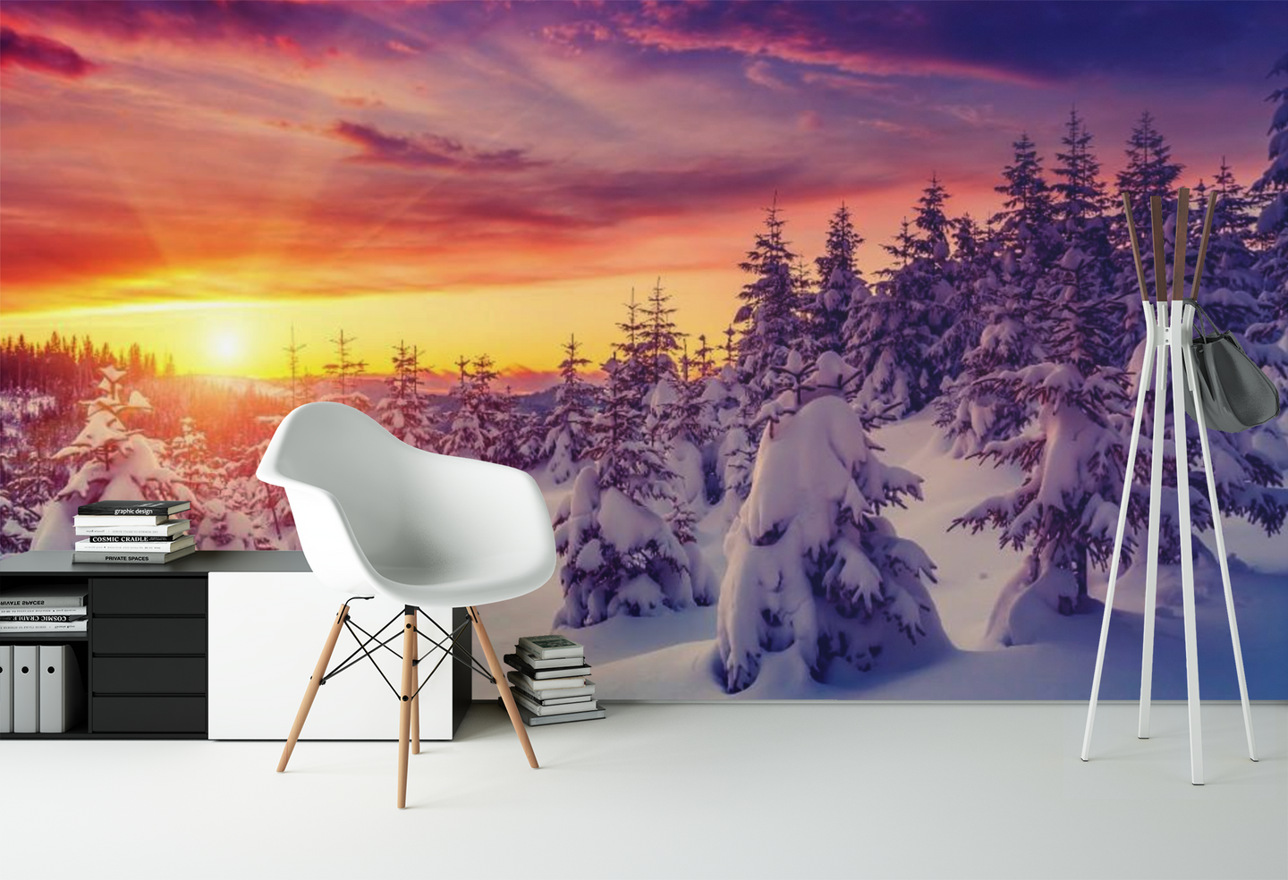 Forest with Snow Sunset   - 0231 - Wall Murals Printing - wall art