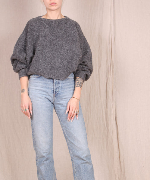 Atelier Delphine-Balloon Sleeve Sweater // CHARCOAL