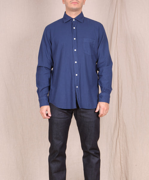 Hartford-Garment Dyed Flannel Button Down // INK