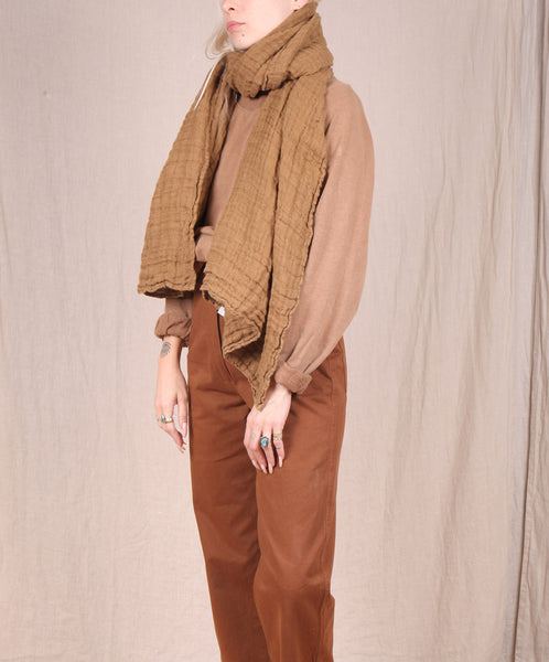 Linge Particulier-Heavy Linen Scarf // MUSTARD