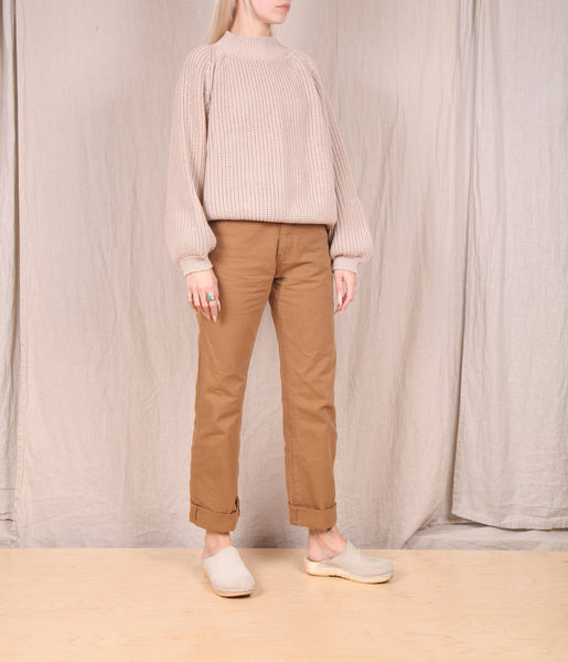 Row-Matilda Cotton Mock Neck Sweater // NUDE