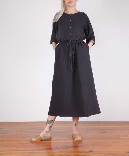 Hartford-Russia Drawstring Long Linen Dress