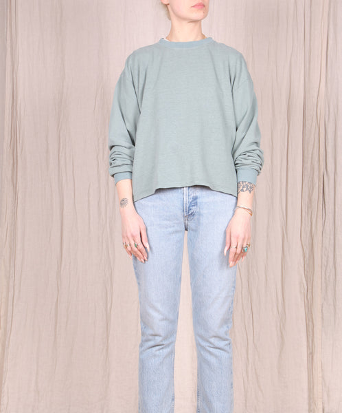 Jungmaven-Cropped Long Sleeve Tee // Clay Green