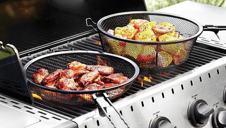 Chef's Jumbo Outdoor Grill Basket & Skillet Outset
