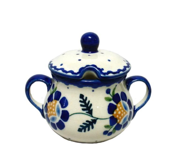 Sugar Bowl - Blue Daisy Polish Pottery
