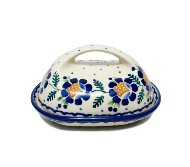 Butter Dish - Blue Daisy Polish Pottery