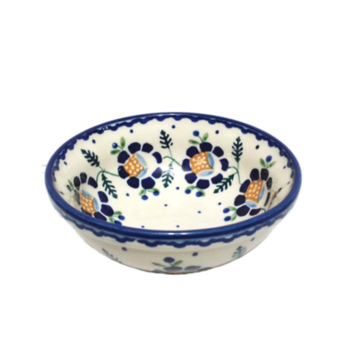 Polish Pottery Cereal Bowl - Blue Daisy