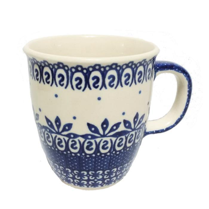 Bistro Mug - Blue On White Polish Pottery
