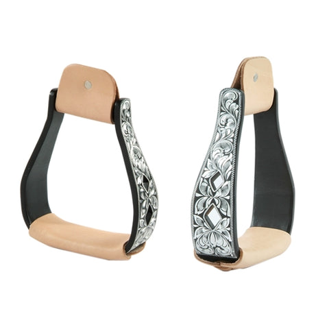 Black Aluminum Stirrups with Silver Diamond Cut Out