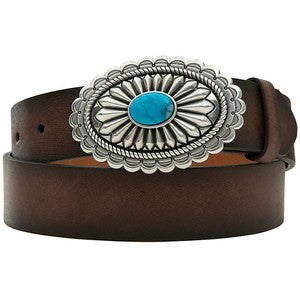 Ariat Ladies Distressed Brown Belt w/ Turquoise Buckle-A1512002