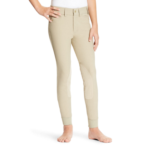 "Ariat Girl's ""Heritage Elite"" Knee Patch Breeches – Tan"
