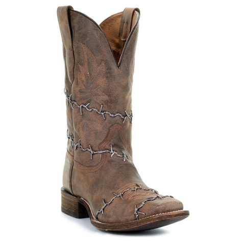 Men's Cowboy Boots Brown Leather Barb Wire By Corral Boots #A3532