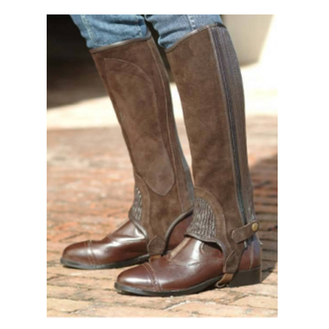 Ladies Equi-Comfort Brown Suede Half Chaps