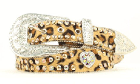 Nocona Ladies Leather Heart & Leopard Belt