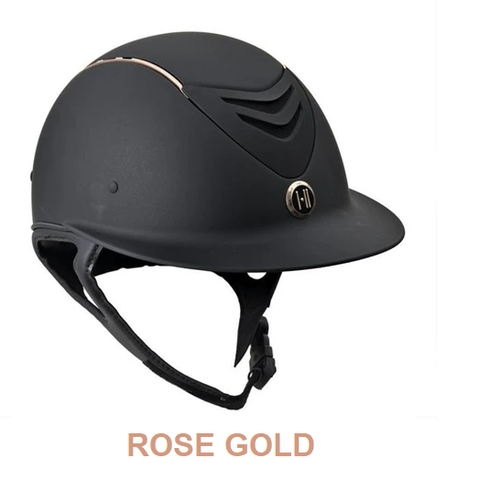 "One K Defender ""Avance"" Wide Sun Brim Helmet with Rose Gold Stripe"