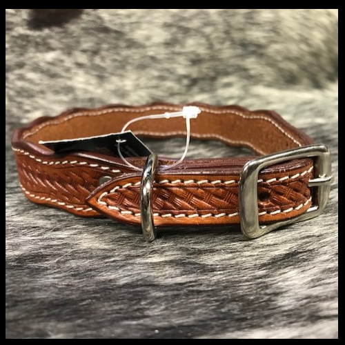 Scalloped Basket Weave Leather Dog Collar
