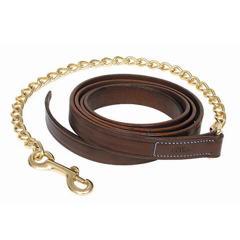"Walsh Leather Lead w/ 30"" Brass Chain"