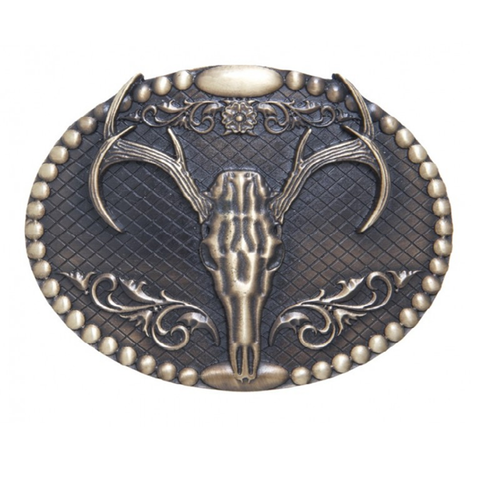 AndWest Antique Brass Elk Skull Belt Buckle