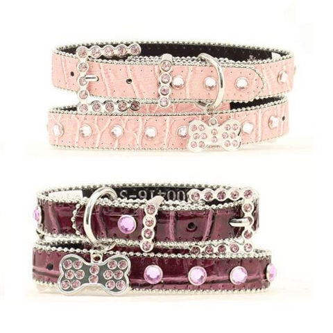 Pink or Purple with Rhinestone Bling Dog Collar - Free Dog Tag