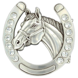 Belt Buckle with Horseshoe and Horse Horse