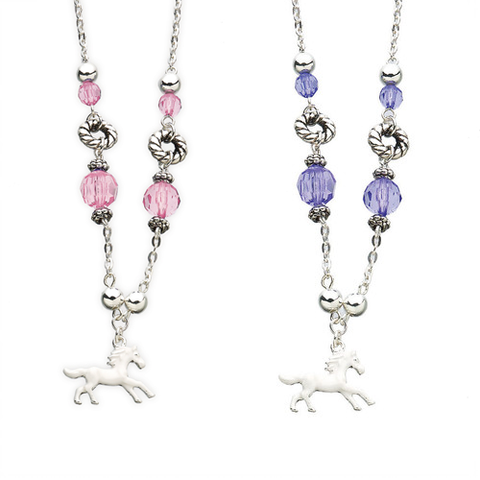 Bead & Enamel Horse Charm Necklace for Girls