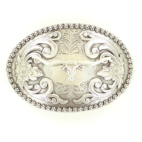Antique Mat Silver Longhorn Buckle