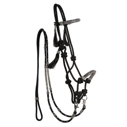Rawhide Rope Bitless Bridle with Rein