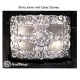 Ladies Silver Floral Scroll/Rhinestones Western Belt Buckle