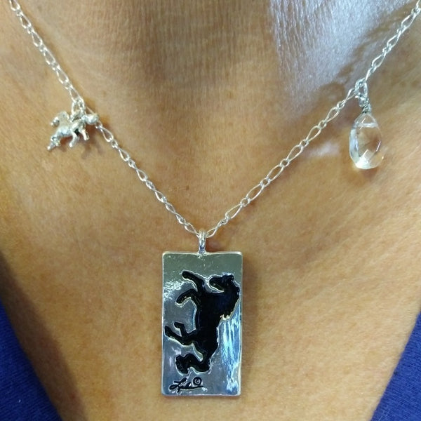 "Awst 18"" Rodium Horse Necklace"