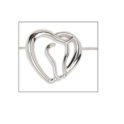 Silver Horse in Heart Ring