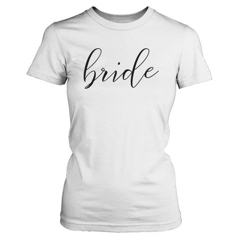 Bride Cursive Tee Matching Bachelorette party shirts that give back to charity