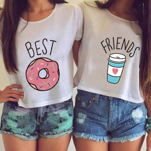 Best Friend Gift Ideas – Donuts and Coffee Best Friends Crop Top Shirts – Gifts for Best Friends Under $25 – Coffee themed gift ideas