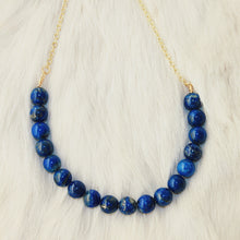 Sarah Choker Necklace that Gives Back to Charity by ROX in Blue Lapis Lazuli and Gold – Trendy and Affordable Perfect for Game day Necklace that Gives Back Deep Royal Blue Jewelry - modern take on classic pearl choker