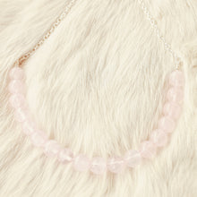 Sarah Choker Necklace that Gives Back to Charity by ROX in Pink Rose Quartz and Silver – Trendy and Affordable Perfect for Game day Necklace that Gives Back Light Pink Rose Quartz Healing Jewelry - modern take on classic pearl choker