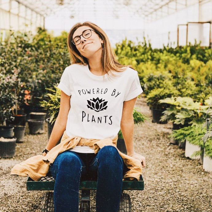 Powered by Plants Shirt that gives back to charity by ROX Jewelry Vegan Themed Items