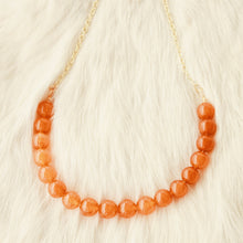 Sarah Choker Necklace that Gives Back to Charity by ROX in  Burnt Orange Quartzite and Gold – Trendy and Affordable Perfect for Gameday Necklace that Gives Burnt Orange Jewelry - modern take on classic pearl choker