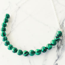 Sarah Choker Necklace that Gives Back to Charity by ROX in Green and Black Malachite and Silver – Trendy and Affordable Perfect for Game day Necklace that Gives Back Green Jewelry - modern take on classic pearl choker
