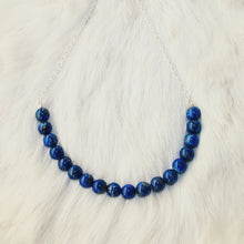 Sarah Choker Necklace that Gives Back to Charity by ROX in Blue Lapis Lazuli and Silver – Trendy and Affordable Perfect for Game day Necklace that Gives Back Deep Royal Blue Jewelry - modern take on classic pearl choker