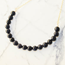 Sarah Choker Necklace that Gives Back to Charity by ROX in Blue and Black Goldstone and Gold – Trendy and Affordable Perfect for Game day Necklace that Gives Back Black and Blue Jewelry - modern take on classic pearl choker