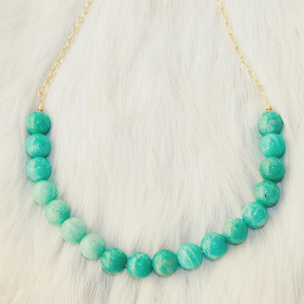 Sarah Choker Necklace that Gives Back to Charity by ROX in Teal Amazonite and Gold – Trendy and Affordable Perfect for Game day Necklace that Gives Back Aqua Blue Teal Turquoise Jewelry - modern take on classic pearl choker
