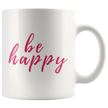 Be Happy Mug that gives back to charity from ROX Jewelry's Purely Positive Collection coffee mugs for a cause pink