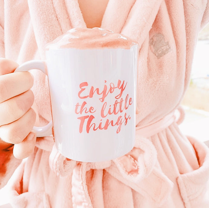 This Mug Gives Back to Charity - Enjoy the little things coffee mug from ROX Jewelry's Purely Positive Collection Great Gift Ideas