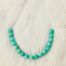 Sarah Choker Necklace that Gives Back to Charity by ROX in Teal Amazonite and Silver – Trendy and Affordable Perfect for Game day Necklace that Gives Back Aqua Blue Teal Turquoise Jewelry - modern take on classic pearl choker