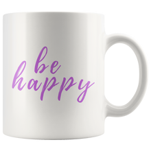 Be Happy Mug that gives back to charity from ROX Jewelry's Purely Positive Collection coffee mugs for a cause purple
