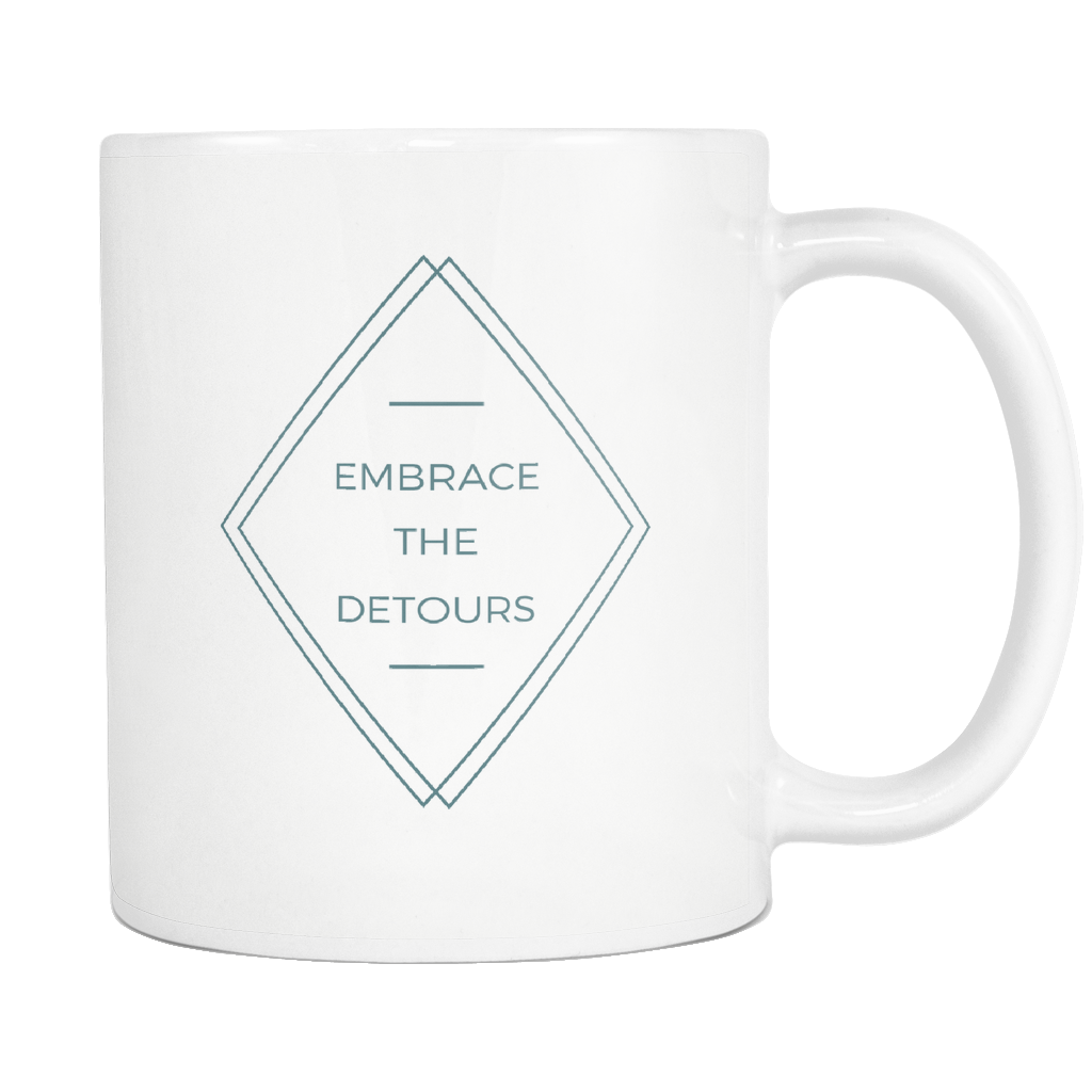 ROX Jewelry Shop - embrace the detours positive encouraging mug Empowering women white black ceramic fashion mug giving back to charity women supporting women great gift for sick friend friend in hospital