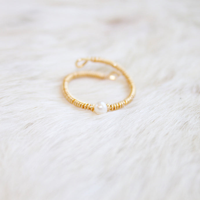 Gold Freshwater Pearl Ring that Gives Back to Charity by ROX Jewelry in Austin, Texas » Great Gift ideas for her under $50 » Dainty Pearl Solitaire Rings