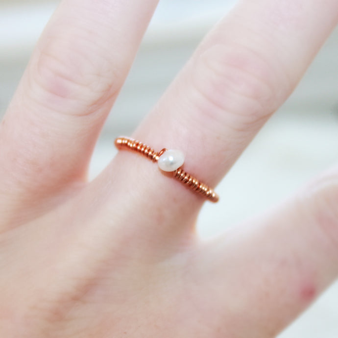 Rose Gold Freshwater Pearl Ring that Gives Back to Charity by ROX Jewelry in Austin, Texas » Great Gift ideas for her under $50 » Dainty Pearl Solitaire Rings