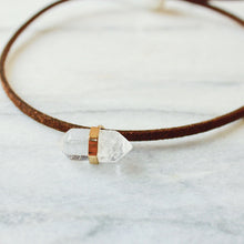 Sydney Quartz Crystal Choker Necklace that gives back to charity handmade in Austin Texas with Vegan and Leather Options Gifts that Give Back by ROX Jewelry