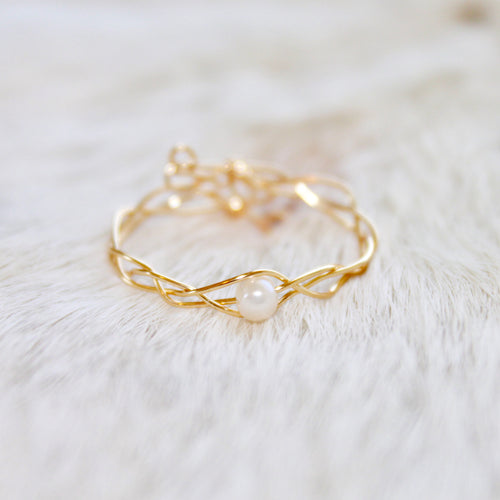 Gold Braided Pearl Ring that Gives Back to Charity by ROX Jewelry in Austin, Texas » Great Gift ideas for her » Dainty Pearl Rings